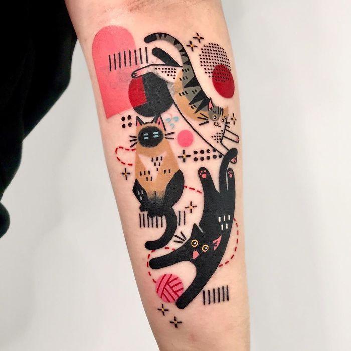 Татуировка с кошками