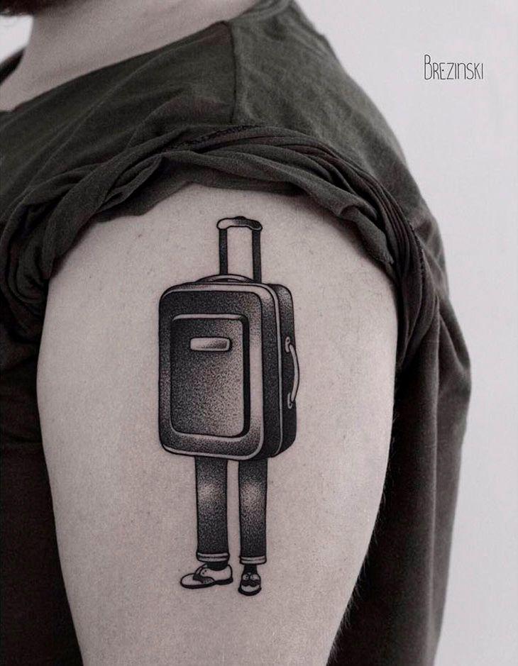 Татуировка на тему путешествия Travel Tattoo Чемодан