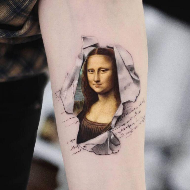 Мона Лиза, Джаконда на татуировке. Тату рука