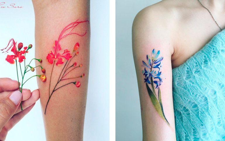 Растения на татуировках. Тату девушка