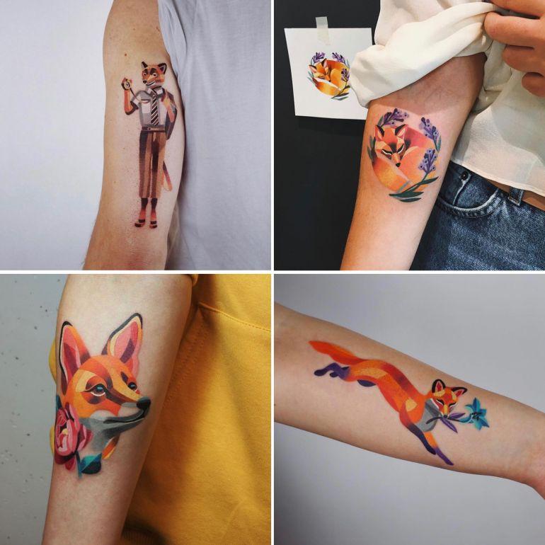 лиса на татуировке