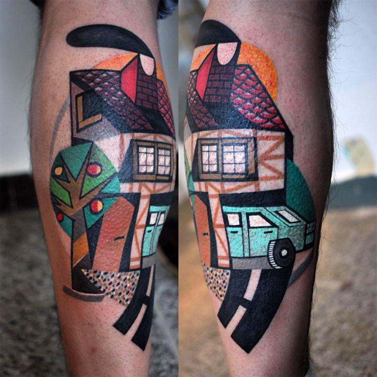 Татуировка дом и авто