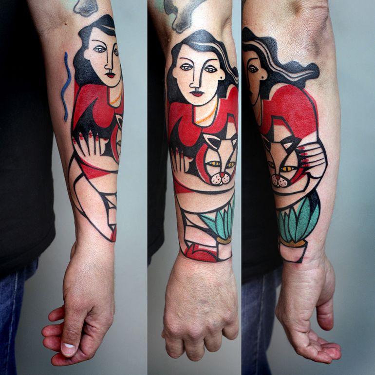 Татуировка женщина с кошкой