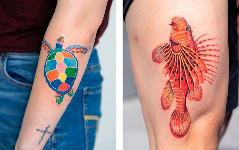 Татуировка черепаха. Рыба тату