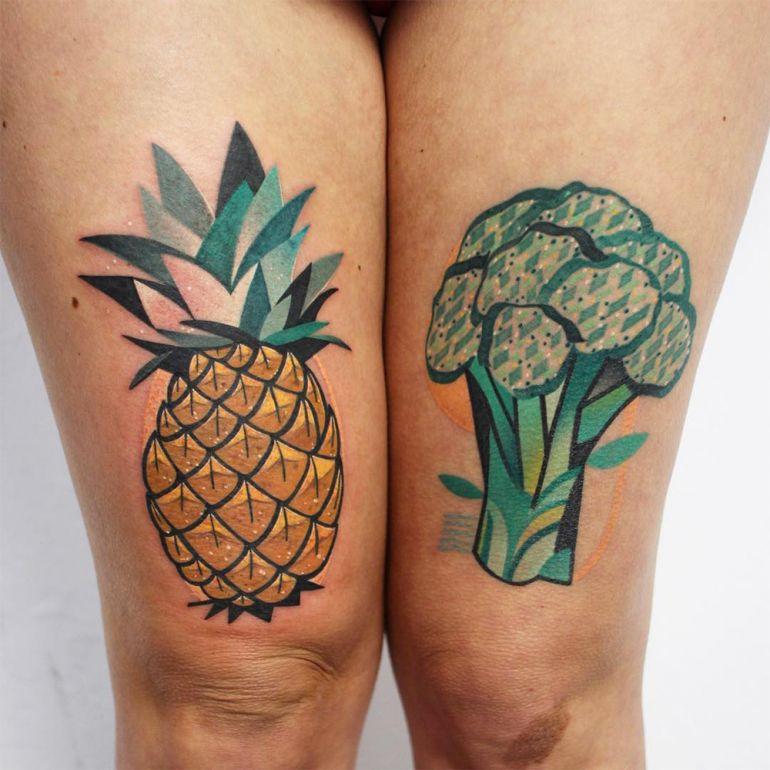 Татуировка ананас и брокколи