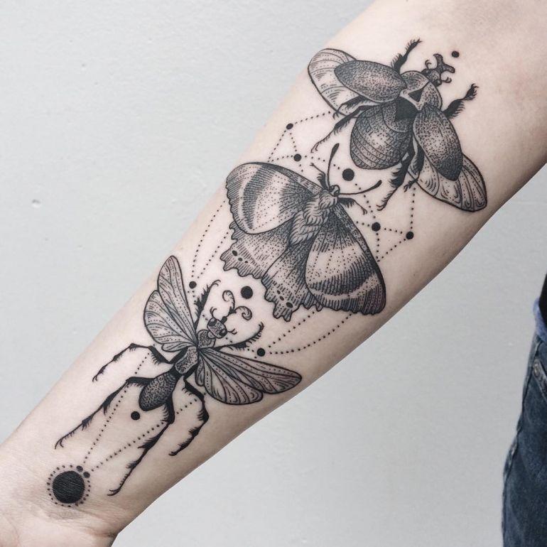 татуировки животных. сакральные символы насекомые