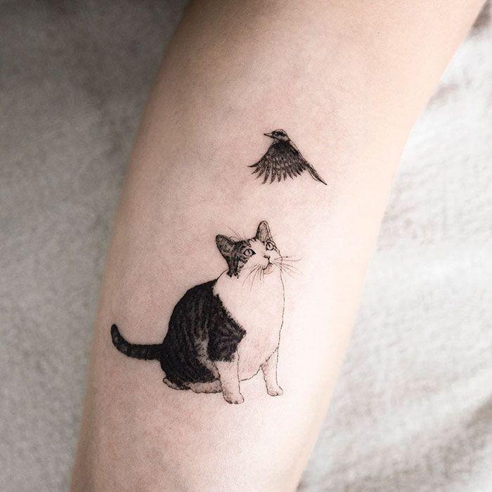 Татуировка с кошкой и птицей