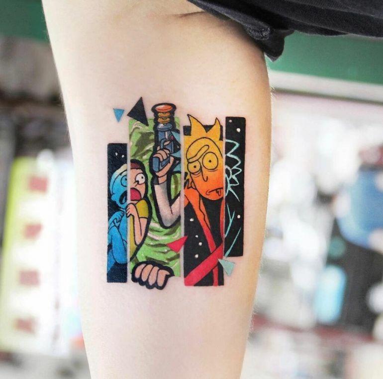 Татуировки с мультиками. Рик и Морти