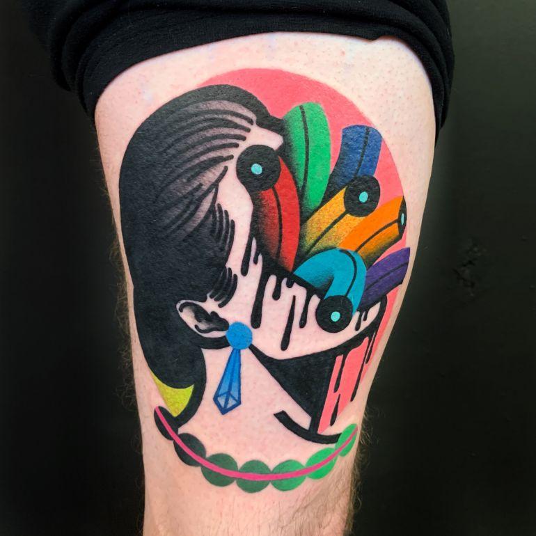 Яркие цветные татуировки. Тату девушка