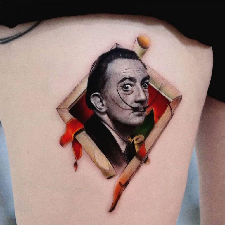 Сальвадор Дали татуировка. Эскиз тату
