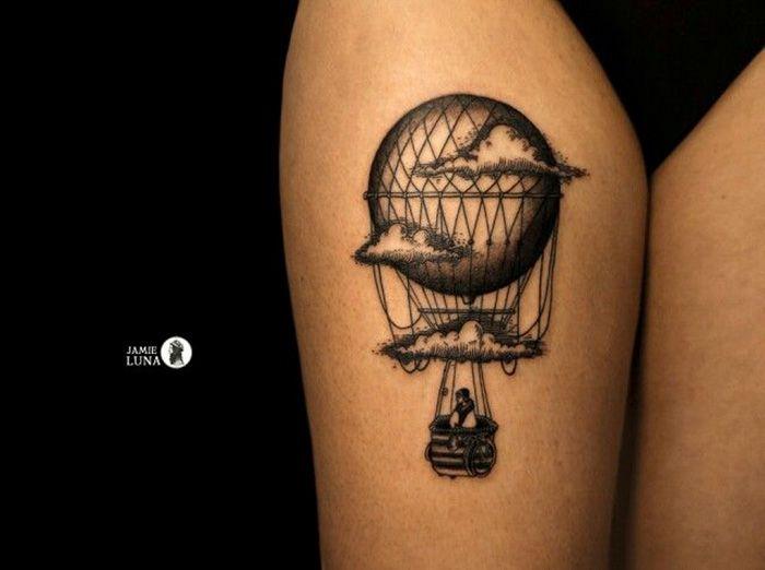 Татуировка на тему путешествия Travel Tattoo воздушный шар