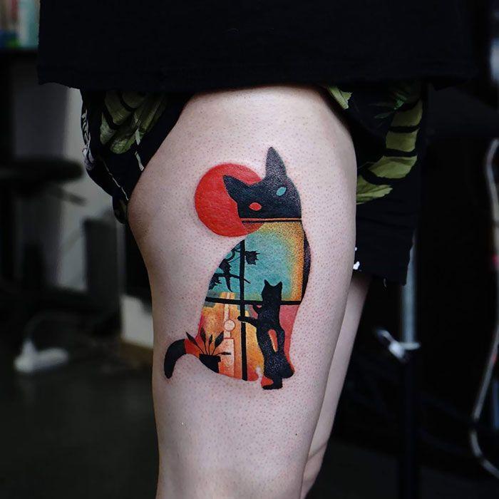 Цветная Татуировка с кошкой