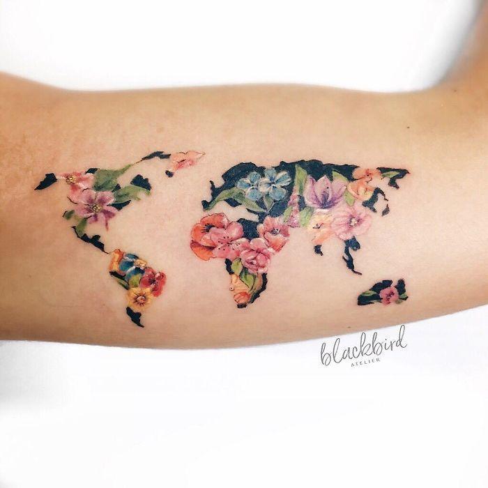 карта мира тату